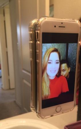 Monster Selfie Case on sticking to mirror