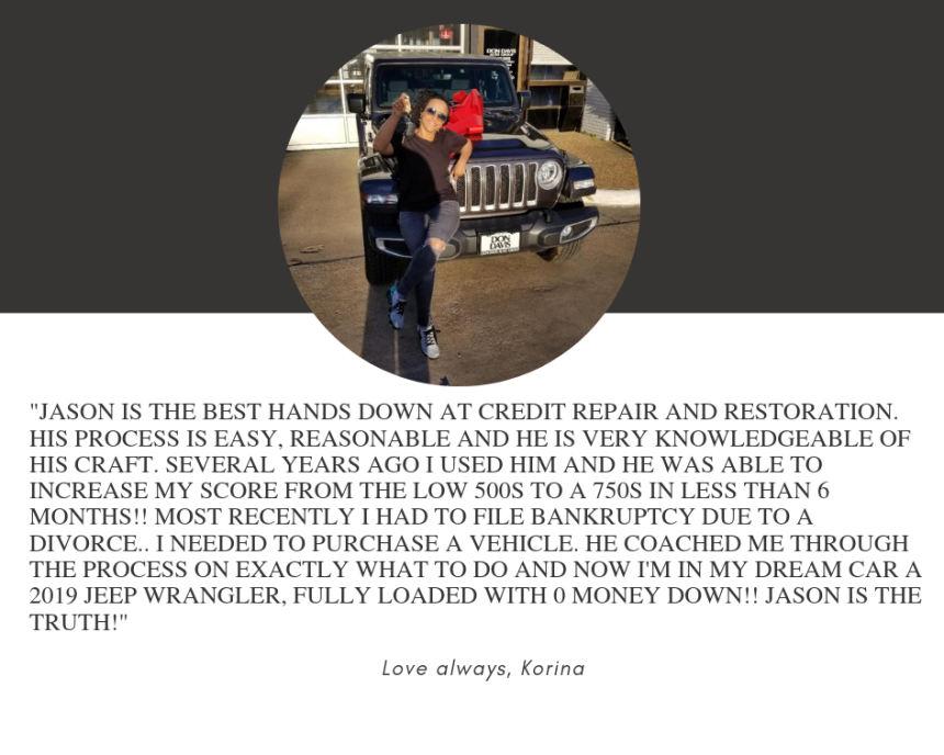 Jason is THE BEST hands down at credit repair and restoration. His process is easy, reasonable and he is VERY knowledgeable of his craft. Several years ago I used him and he was able to increase my score from the low (1)